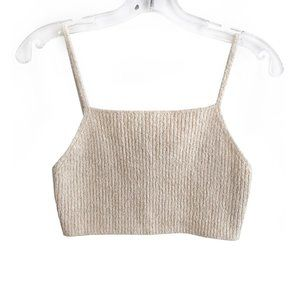 Zara cream ribbed spaghetti strap crop top